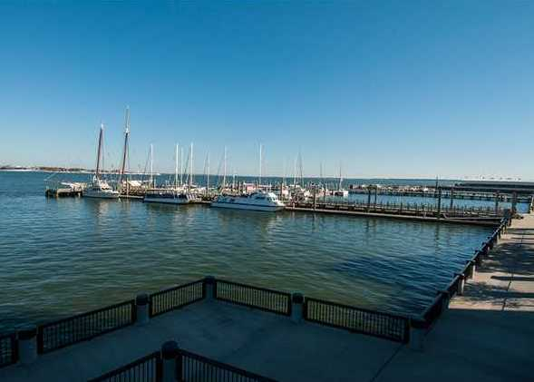 dock facilities on Charleston harbor at dockside