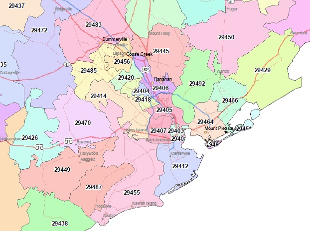 North Charleston Zip Code Map.Search Charleston Home Listings By Zip Code