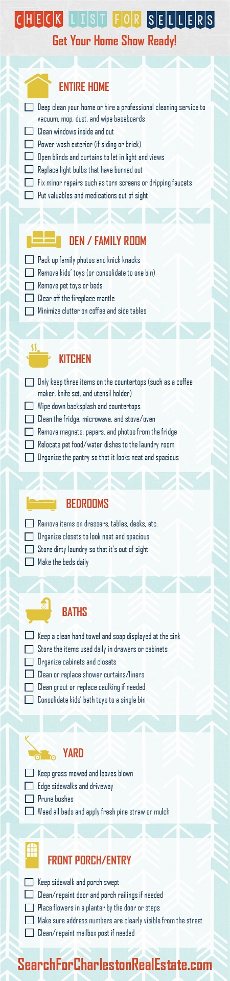 infographic check list to sellers to get their home ready for showings