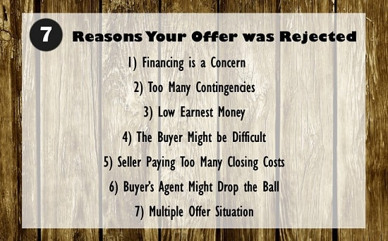 why sellers reject real estate offers