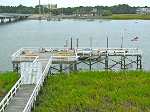 folly beach condo community with dock